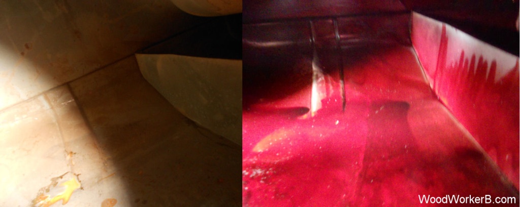 Datsun 240Z fuel tank gas tank, Before and After, Inside