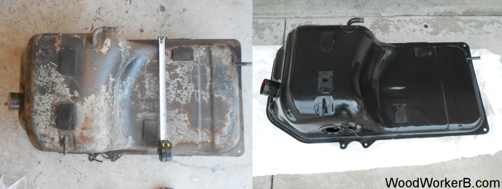 Datsun 240Z fuel tank gas tank, Before and After, Outside