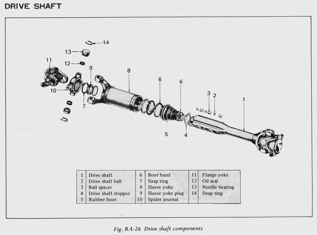 Datsun 240Z Half-Shaft Rebuild - 1971 Datsun 240Z Drive Shaft Exploded View