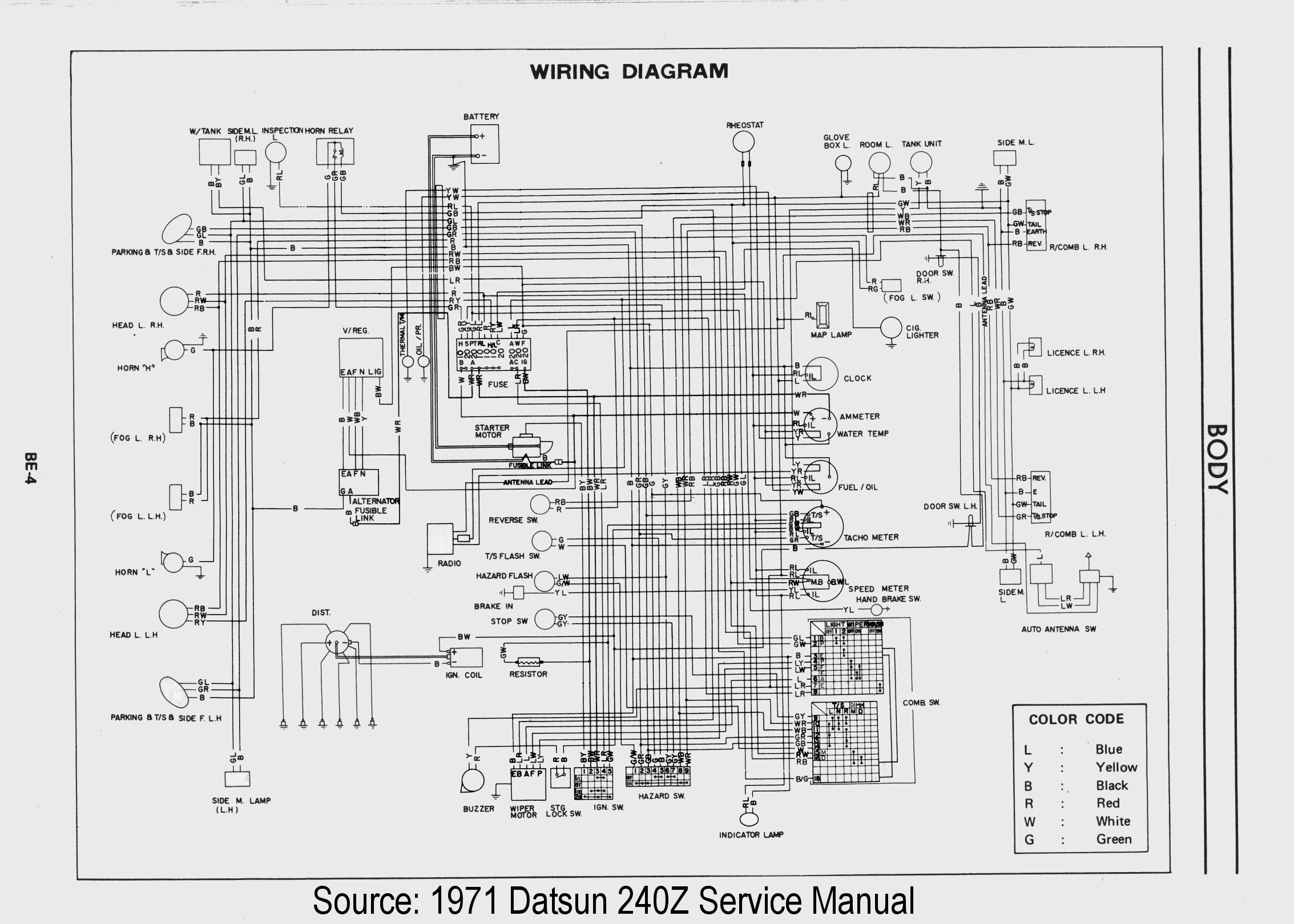 240z serie i color wiring diagram - electrical