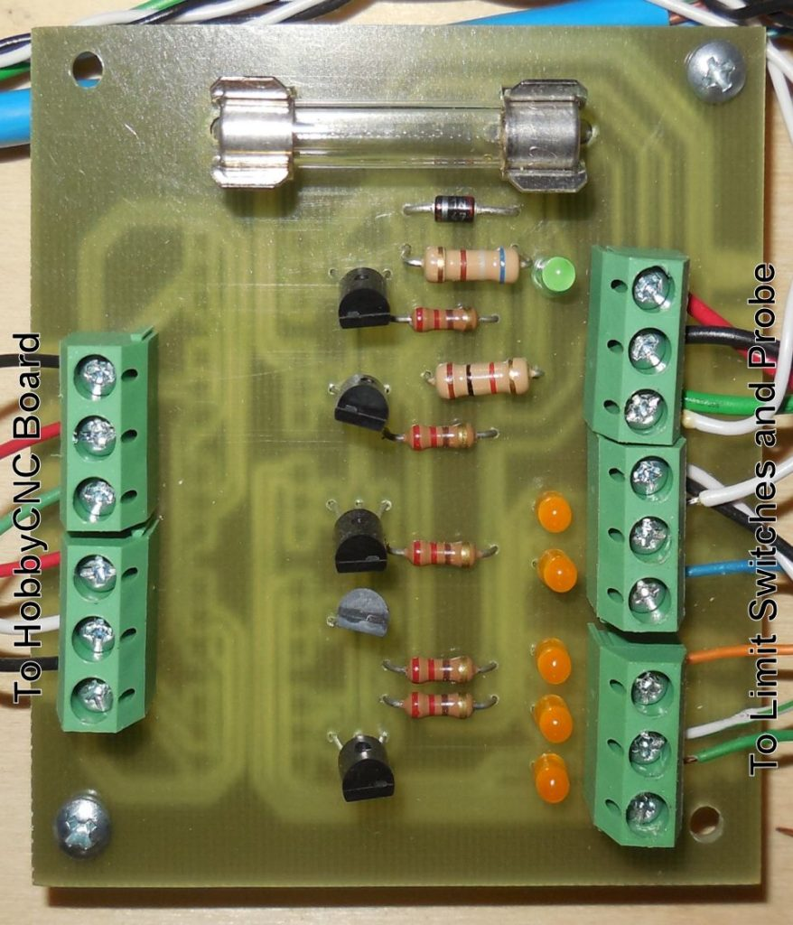 Setup and Configuration of Limit Switches Photo of opto PCB