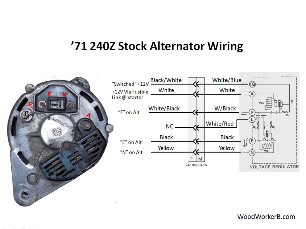 240z alternator upgrade woodworkerb rh woodworkerb com Ford Alternator Wiring Diagram Ford Alternator Wiring Diagram