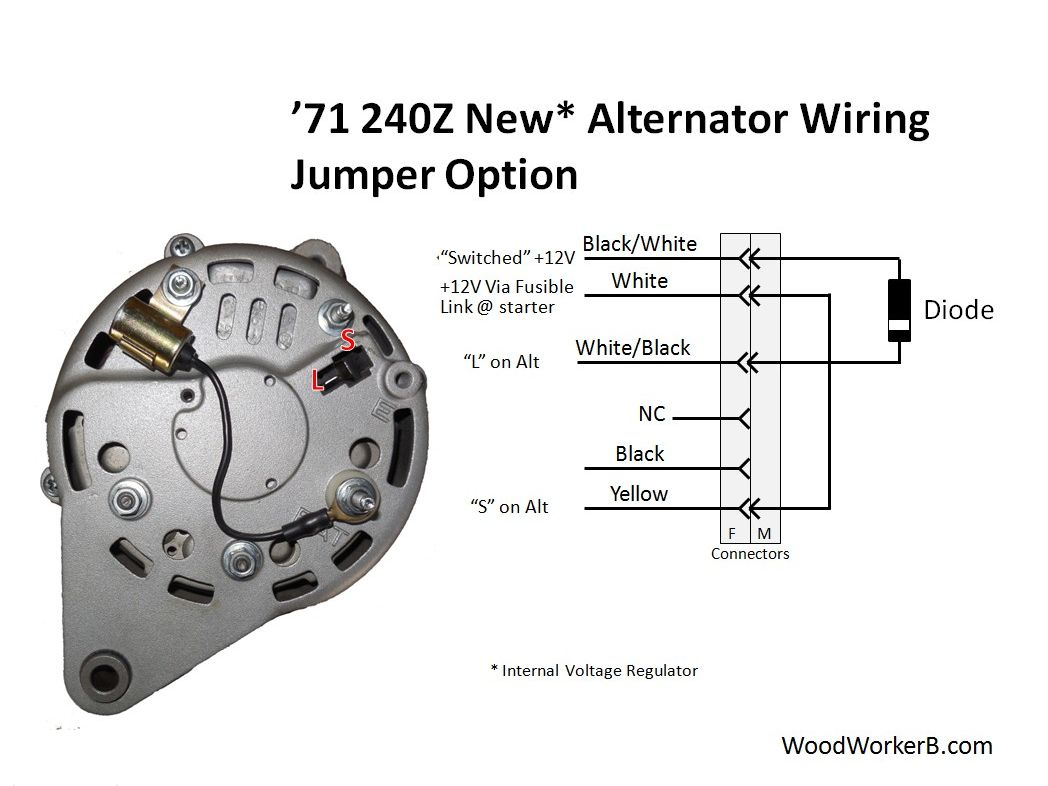 240z Alternator Upgrade Woodworkerb Lucas Wiring Diagram For Mg With Internal Voltage Regulator This Approach Uses A Jumper In Place Of The Mechanical