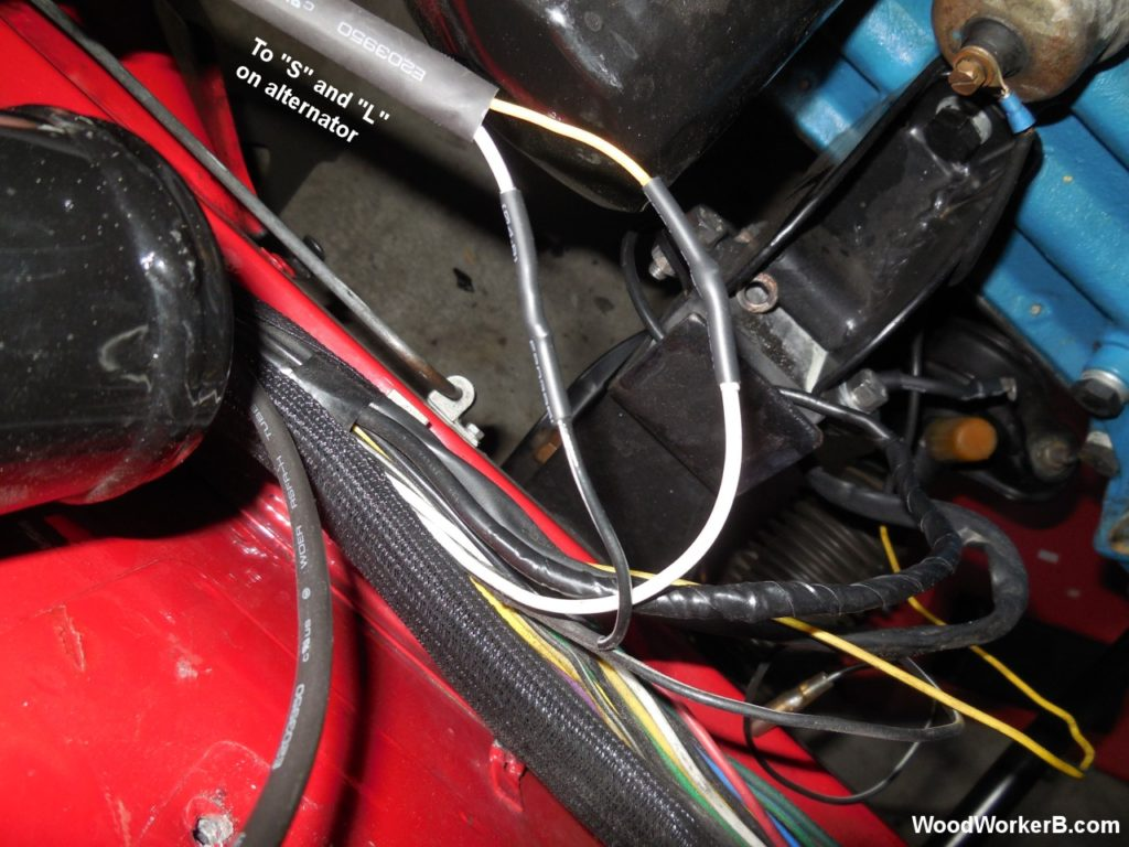 240Z Alternator Upgrade - The solder-and-shrink-tubing before re-installation back into the wiring loom