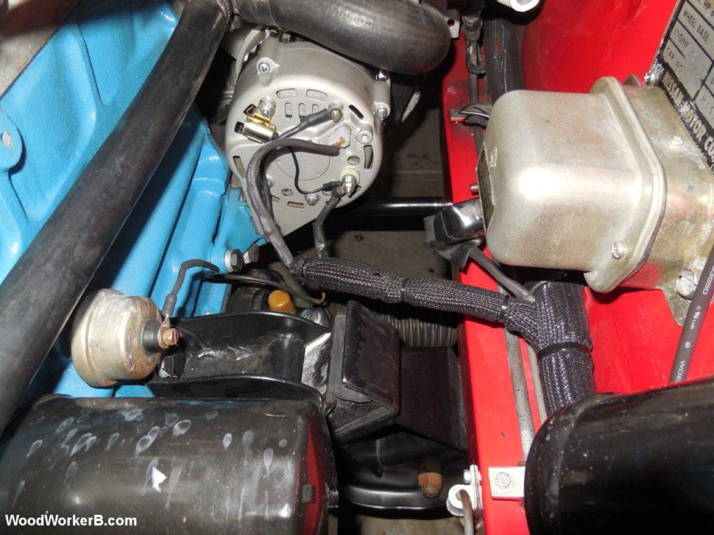 240Z Alternator Upgrade - Finished wiring loom to alternator