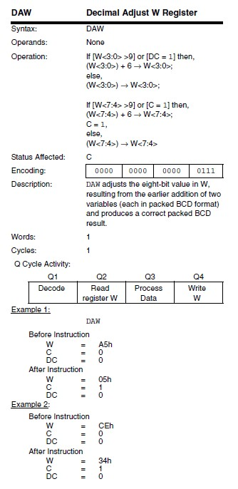Binary to Decimal Converter for PIC Microcontroller - DAW command